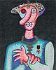 ENRICO BAJ (Milano 1924-2003)  L'homme au long nez