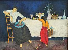 FELIX VARLAMISHVILLI dit « Félix VARLA » (1903-1986)  La mère et l'enfant au buffet de fruits