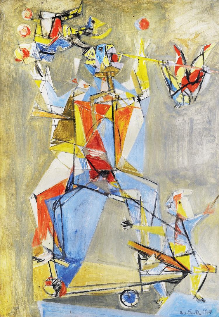 HELLA GUTH (1912) Composition abstraite « Acrobate »