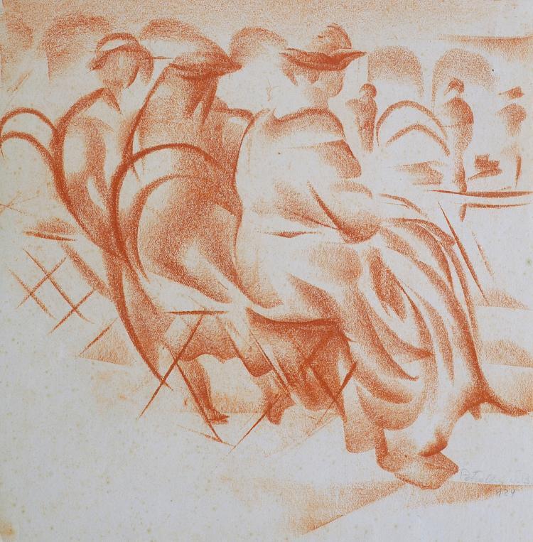 VITTORIO PETRELLA DA BOLOGNA (1886-1951) Elégantes sur un banc
