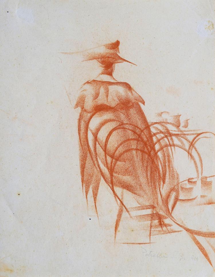 VITTORIO PETRELLA DA BOLOGNA (1886-1951) Elégante au chapeau en terrasse