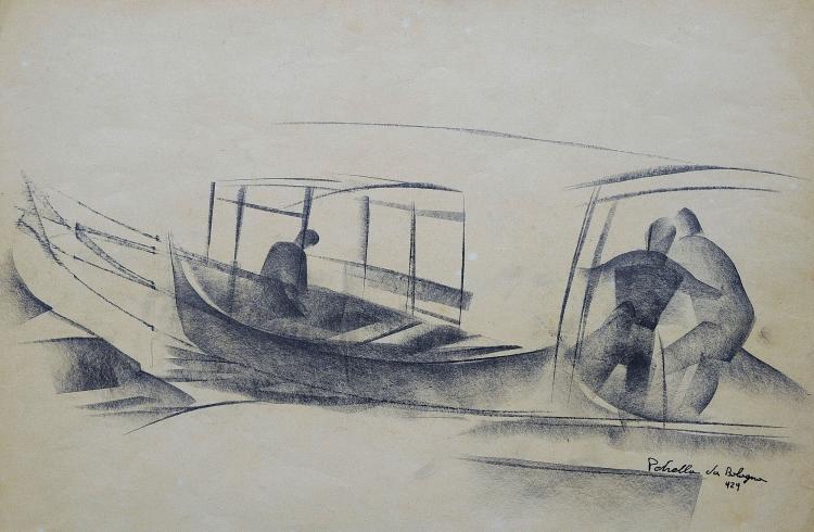 VITTORIO PETRELLA DA BOLOGNA (1886-1951) Les barques à Venise, 1929