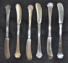 VINTAGE 6 TOWLE STERLING SILVER BUTTER KNIVES XW