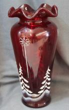 RARE FENTON 11 IN CHRISTMAS VASE RUBY STAR OF DAVID XW