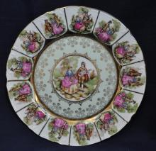 1980s COURTING SCENIC GILT TRANSFER MEDALLIONS PLATE XW