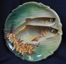 1920s F LEGRAND LIMOGES / LRL HP TROUT WALL PLAQUE XW