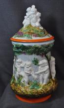 1970s LIKELY ITALIAN HP PUTTI & SATYRS BISCUIT JAR XW