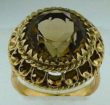 14k YELLOW GOLD 7.70 CT SMOKY TOPAZ DINNER RING