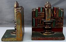 1930s CAST PAIR COLD PAINTED CANDLE & LIBRARY BOOKENDS