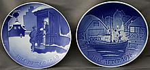 2 pc 1940 COPENHAGEN BING & GRONDAHL JULE AFTER PLATES