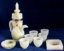 VTG ARABIC GREEN ONYX TEA POT / SET WITH CUPS + MORE