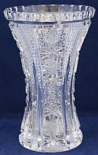 ABP AMERICAN BRILLIANT CRYSTAL STRAWBERRY HOBSTAR VASE
