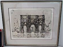 SIGNED MID CENTURY THE ARCH OF CONSTANTINE LITHO