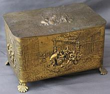 ORNATE BRASS DUTCH REPOUSSE MUSIC / DRESSER BOX
