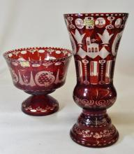 1990s EGERMANN BOHEMIAN RUBY ETCHED TO CRYSTAL PIECES