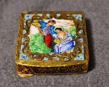 1930s FRENCH HD CARVED .800 SILVER ENAMELED SNUFF BOX
