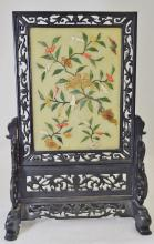 1970s CHINESE HD CARVED APPLIED HARD STONE TABLE SCREEN