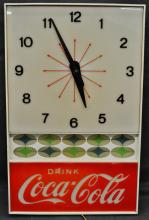 1960 DRINK COCA-COLA SLOGAN GENERAL STORE HANGING CLOCK