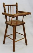 1950s MACHINE TOOLED WOOD CHILDS LARGE DOLL HIGH CHAIR