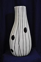 1960s MOLD BLOWN CZECH THREADED FURNACE GLASS VASE XT