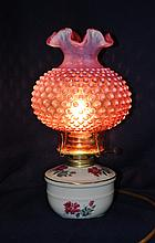 FENTON CRANBERRY OPALESCENT HOBNAIL HP NIGHT LAMP XJ