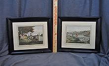 2 ANTIQUE HAND COLORED RESTRIKE ETCHINGS FRAMED XW