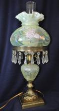 1990s RARE FENTON TOPAZ OPALESCENT HP HYDRANGEA LAMP XV