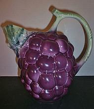 1960s HP ITALIAN FAIENCIA GRAPES CLUSTER PITCHER XC