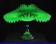 BOHEMIAN OPALESCENT VASELINE BLOWN GLASS JIP COMPOTE XW