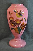 1920s HB BOHEMIAN CASED ROSALINE GLASS BLUEBIRD URN XW
