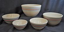 HULL BANDED 1937-42 PORCELAIN YELLOW NESTING BOWLS XJ