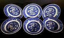 6 HOMER LAUGHLIN FLOW BLUE BERRY BOWLS XC