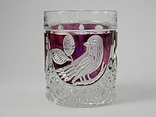 Ruby Flash Pressed Glass Tumbler W/ Birds