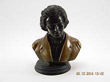 Ludwig Van Beethoven Two Tone Bronze Bust
