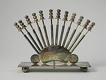 Silver Plate Toothpick Holder W/ Sword Tooth Picks