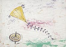 Basil Rakoczi (1908-1979)The Yellow Kite and Spinning TopOil on paper laid