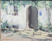 George Gillespie RUA (1924-1995)A Cottage DoorwayOil on canvas, 18.5 x 34.5