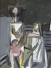Louis le Brocquy HRHA (1916-2012)Figures in a Tudor GardenOil on board, 19.