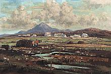 Rowland Hill ARUA (1915-1979)Stacking turf near Errigal, Co. DonegalOil on