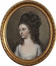 Hugh Douglas Hamilton RHA (1734-1808)Viscountess LiffordOval pastel and pen