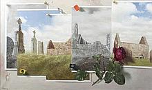 Patrick Hennessy RHA (1915-1980)A Prospect of ClonmacnoiseOil on canvas, 76