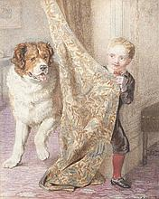 Helena Maguire (1860-1909)Young boy playing with St. Bernard DogWatercolour