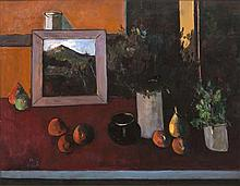 Peter Collis RHA (1929-2012)Still life with fruit and paintingOil on canvas