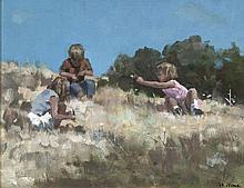 James le Jeune RHA (1910 - 1983)Three Children PlayingOil on board, 37 x 46