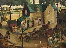 John Luke RUA (1906 - 1975)A Farmstead, Co. Armagh (1928)Oil on canvasboard