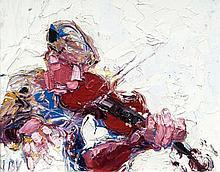 John Brian Vallely (b.1941)Strings of musicOil on canvas, 40 x 51cm (15å_ x