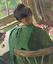 William John Leech RHA ROI (1881 - 1968)SewingOil on Canvas, 76.2 x 36.5cm