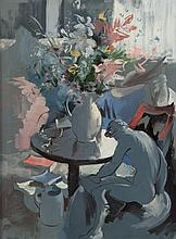 Frances Kelly ARHA (1908 - 2002) Still Life with Flowers and Statue Oil