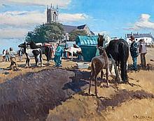 Cecil Maguire RHA RUA (b.1930)  Ballinasloe Fair, Sept.'90 Oil on board, 61