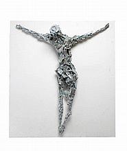 Edward Delaney RHA (1930-2009) Jesus Crucified Silvered alloy, 87 x 73cm